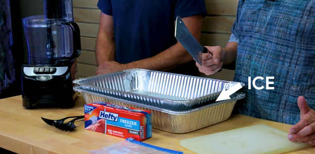 Prepare the mixing trays with ice