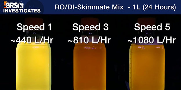 Skimmate samples after being diluted with RO/DI water