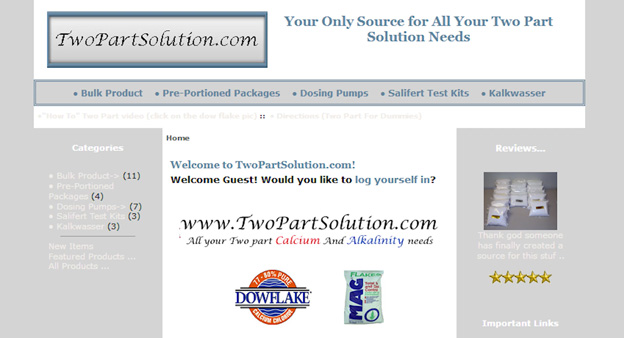 Two Part Solution website homepage
