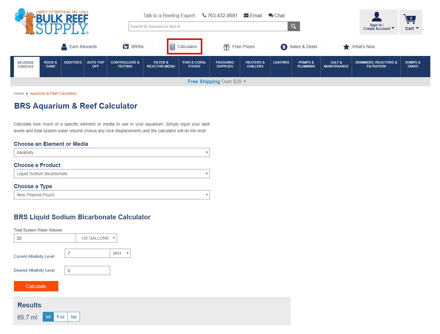 BRS Aquarium and Reef Chemistry Calculator