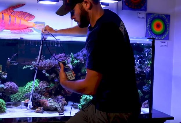 Randy using a PAR meter to measure PAR inside WWC display tank