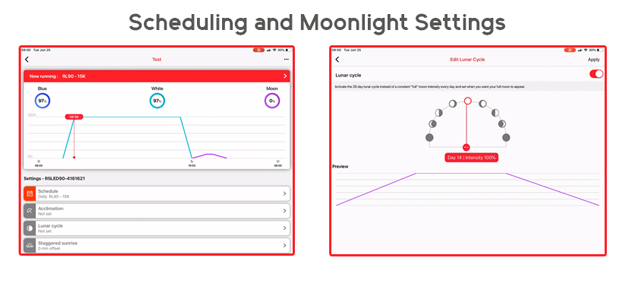 Dimming and moonlight controls in Reef Beat App